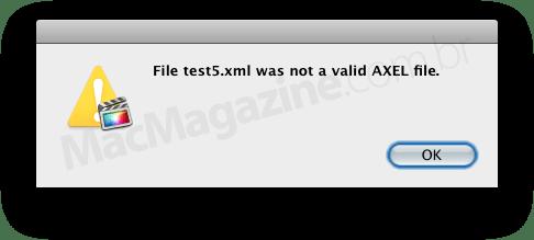 Janela de erro XML do FCPX