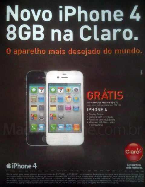 Propaganda da Claro do iPhone 4 de 8GB