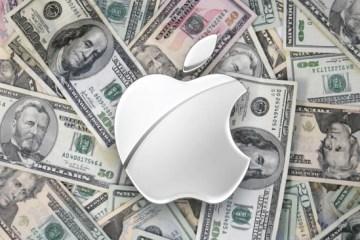 Dinheiro com o logo da Apple em cima