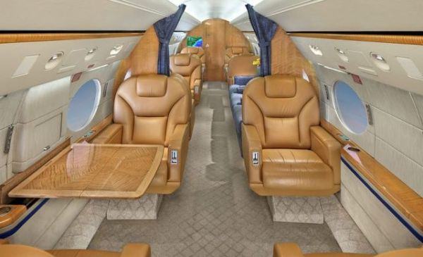 Interior do jato Gulfstream
