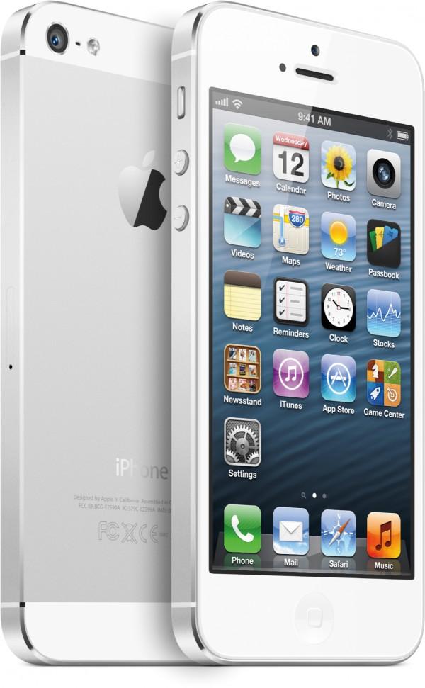 iPhone 5 branco de frente e de lado, frente e trás