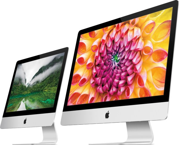Novos iMacs de frente e inclinados