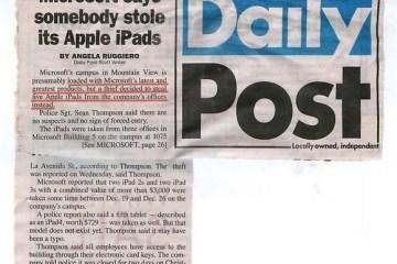 Roubo de iPads na Microsoft