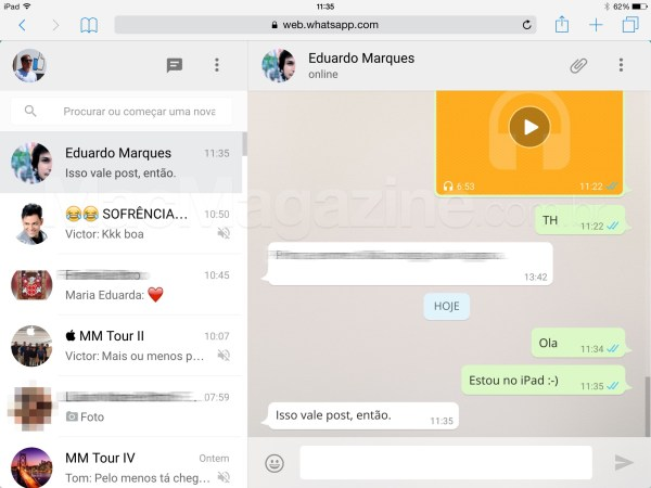 WhatsApp Web no iPad