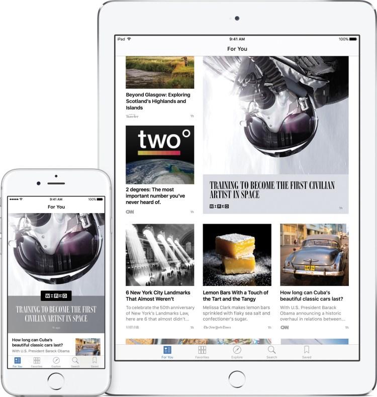 Aplicativo Notícias (News) num iPad e num iPhone com o iOS 9