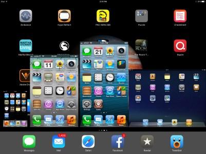 Quatro telas de iGadgets sobre uma do iPad Pro