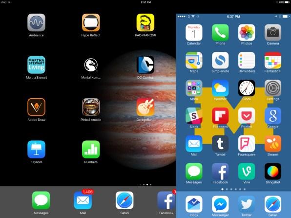 Tela do iPhone 6s Plus sobre a do iPad Pro