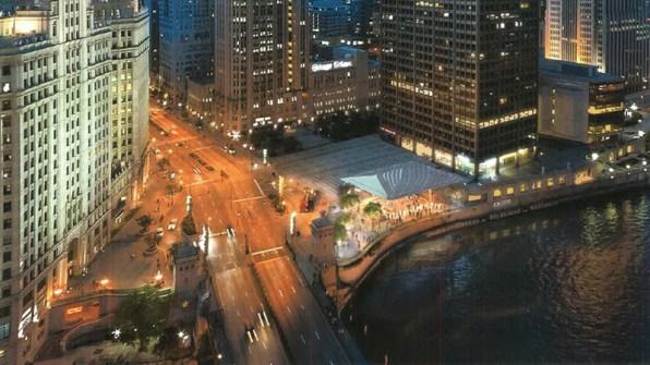 Renderização da nova loja da Apple em Chicago