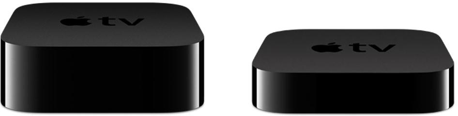 Apple TVs de quarta e terceira geração lado a lado