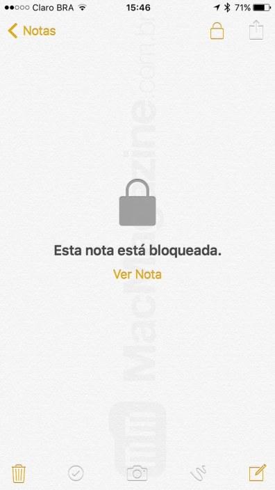 Como bloquear uma anotação no app Notas do - iOS 9.3