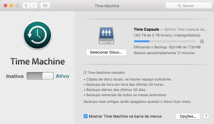 Fazendo backup pelo Time Machine