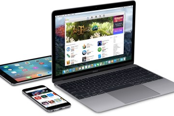 iPad, iPhone e MacBook na diagonal e de lado