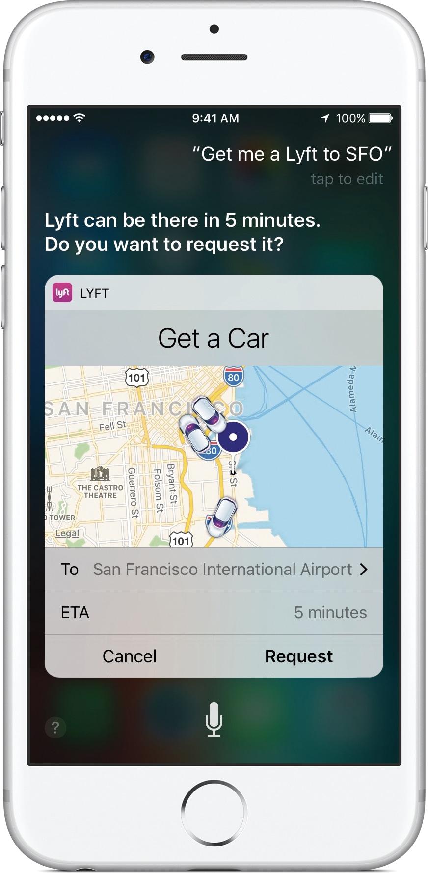 Lyft na Siri do iOS 10 num iPhone