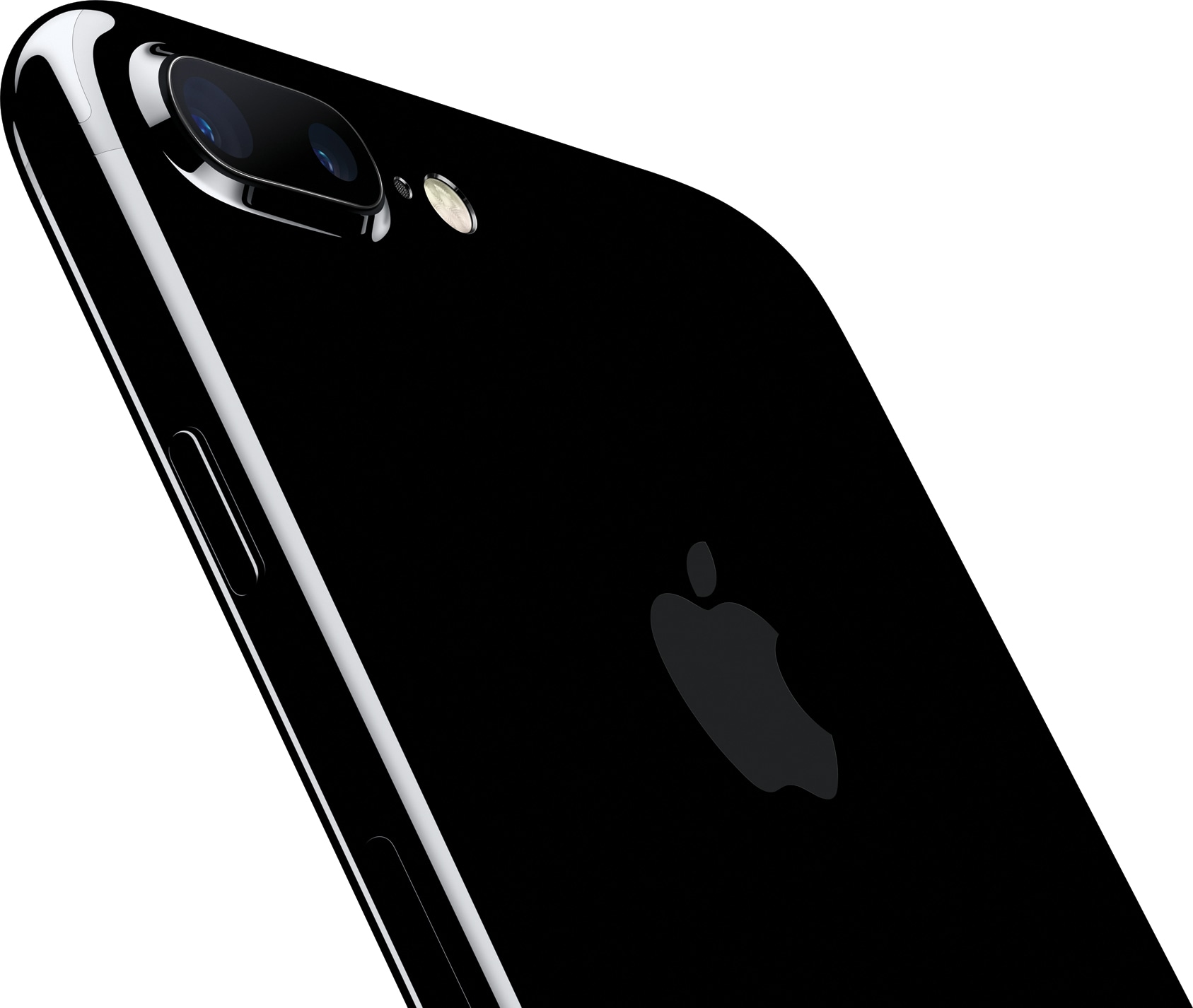 iPhone 7 Plus jet black inclinado de costas