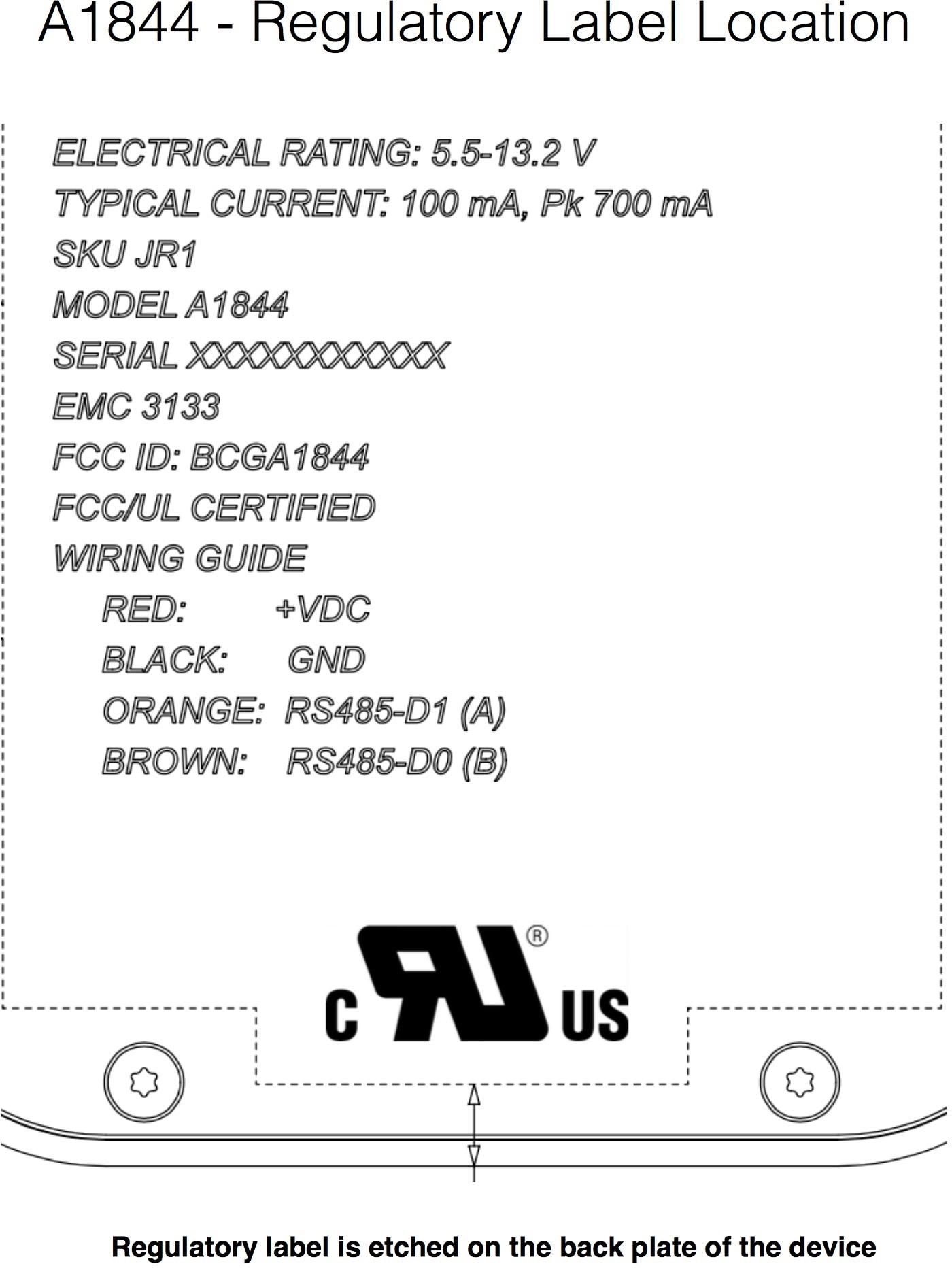 Documento do dispositivo A1844, testado pela FCC