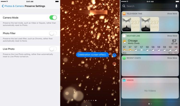 Novidades do iOS 10.2 (app Câmera, efeitos para o iMessage e widget pro app TV)
