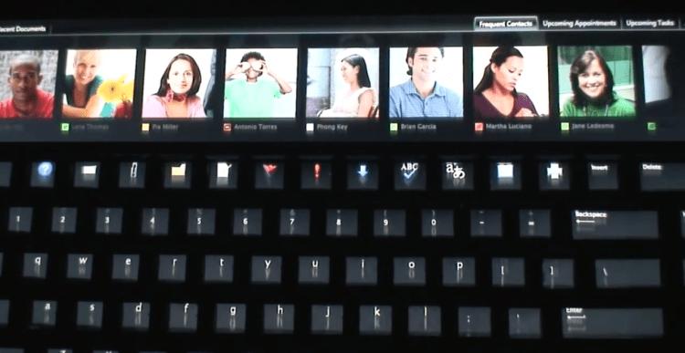 Protótipo de teclado adaptativo da Microsoft, semelhante à Touch Bar