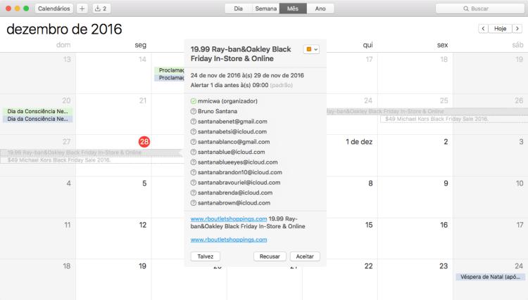 Spam no calendário do iCloud