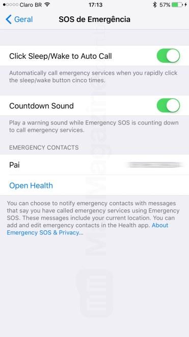iOS 10.2 beta 2 (SOS de Emergência)