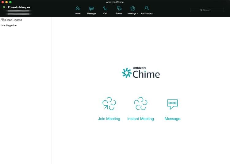 Interface do Amazon Chime para macOS