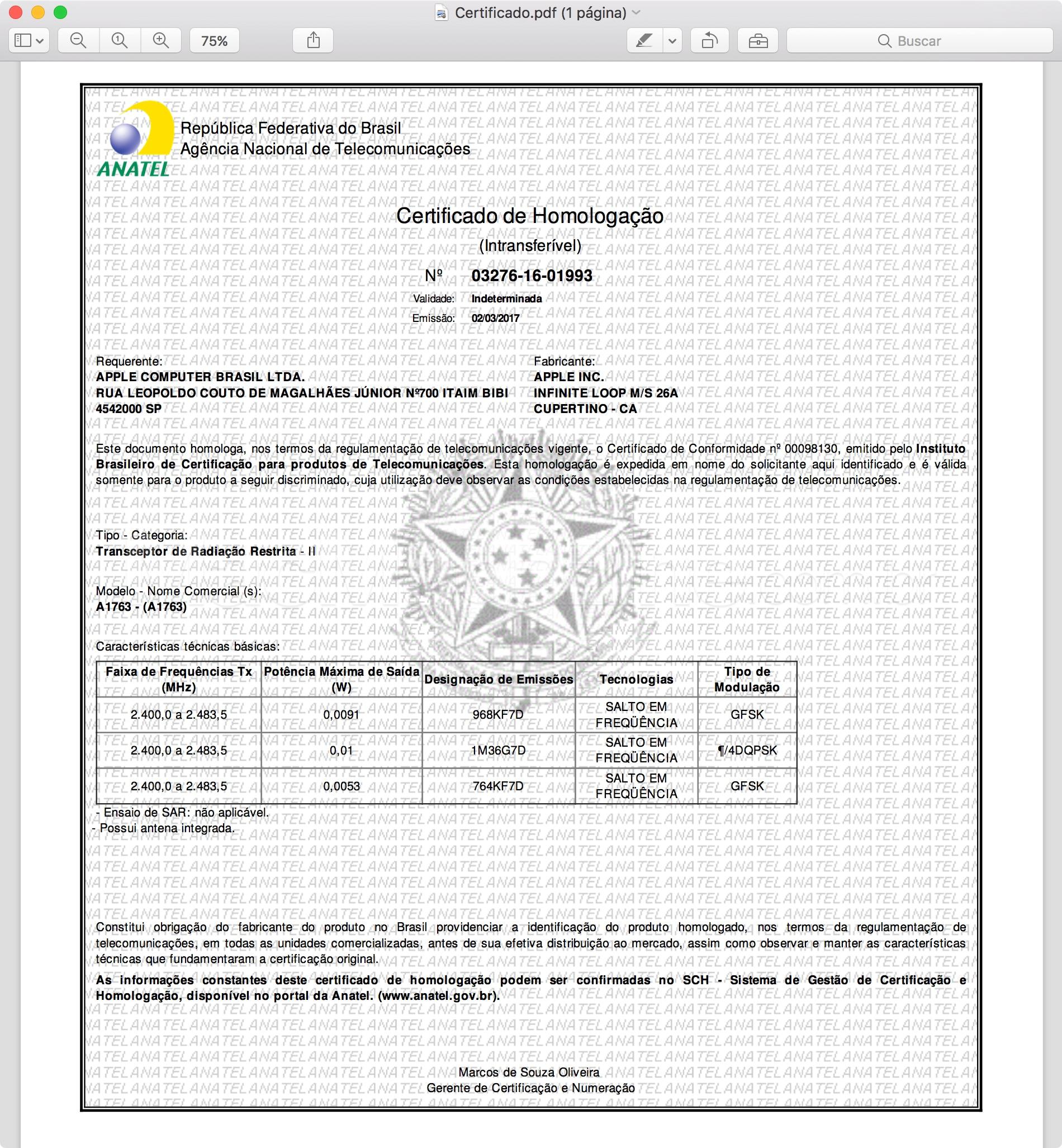 Certificado do BeatsX na Anatel