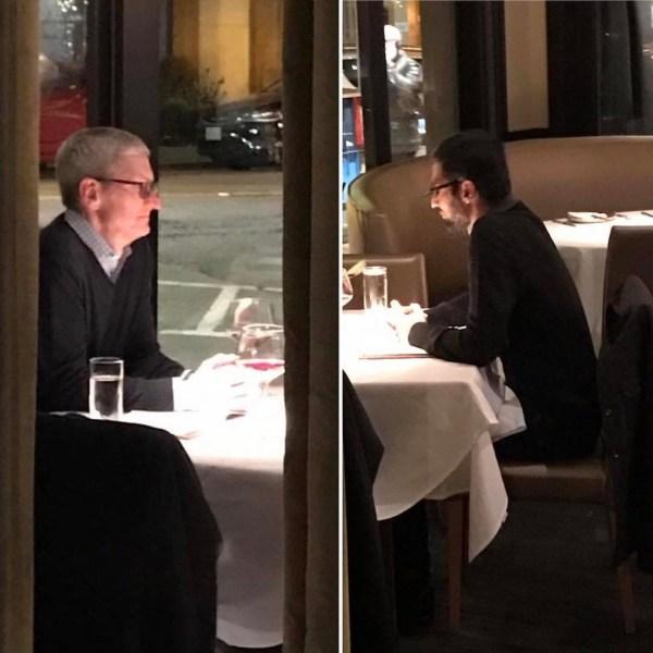 Tim Cook (CEO da Apple) e Sundar Pichai (CEO do Google)