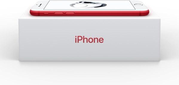 Caixa do iPhone 7 (PRODUCT)RED com fundo ajustado para branco