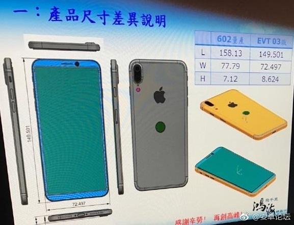 Suposto esquema técnico do iPhone 8 com Touch ID na traseira
