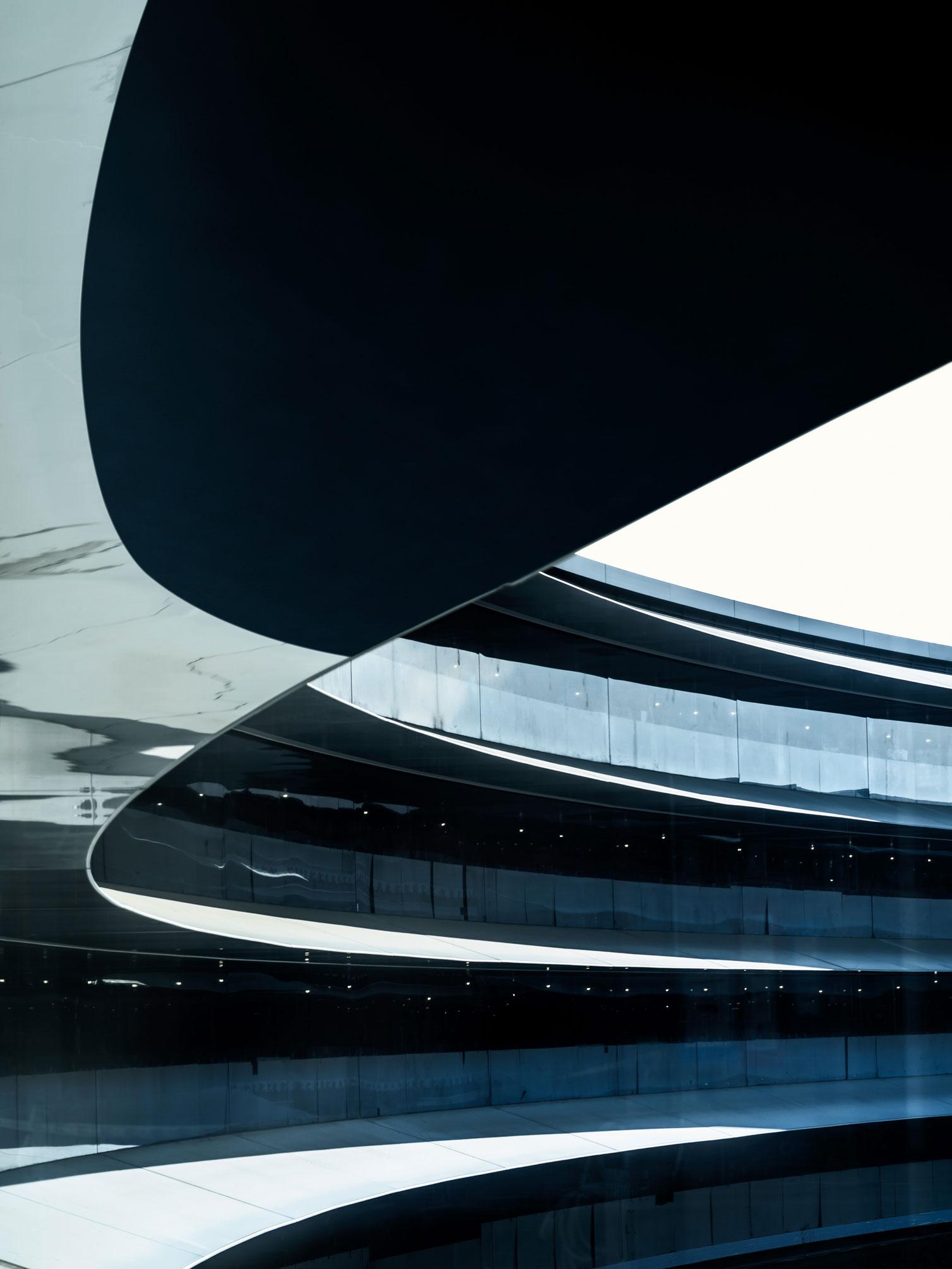 Detalhe das marquises do prédio principal do Apple Park