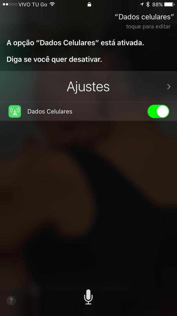 """Falando """"Dados celulares"""" para a Siri"""