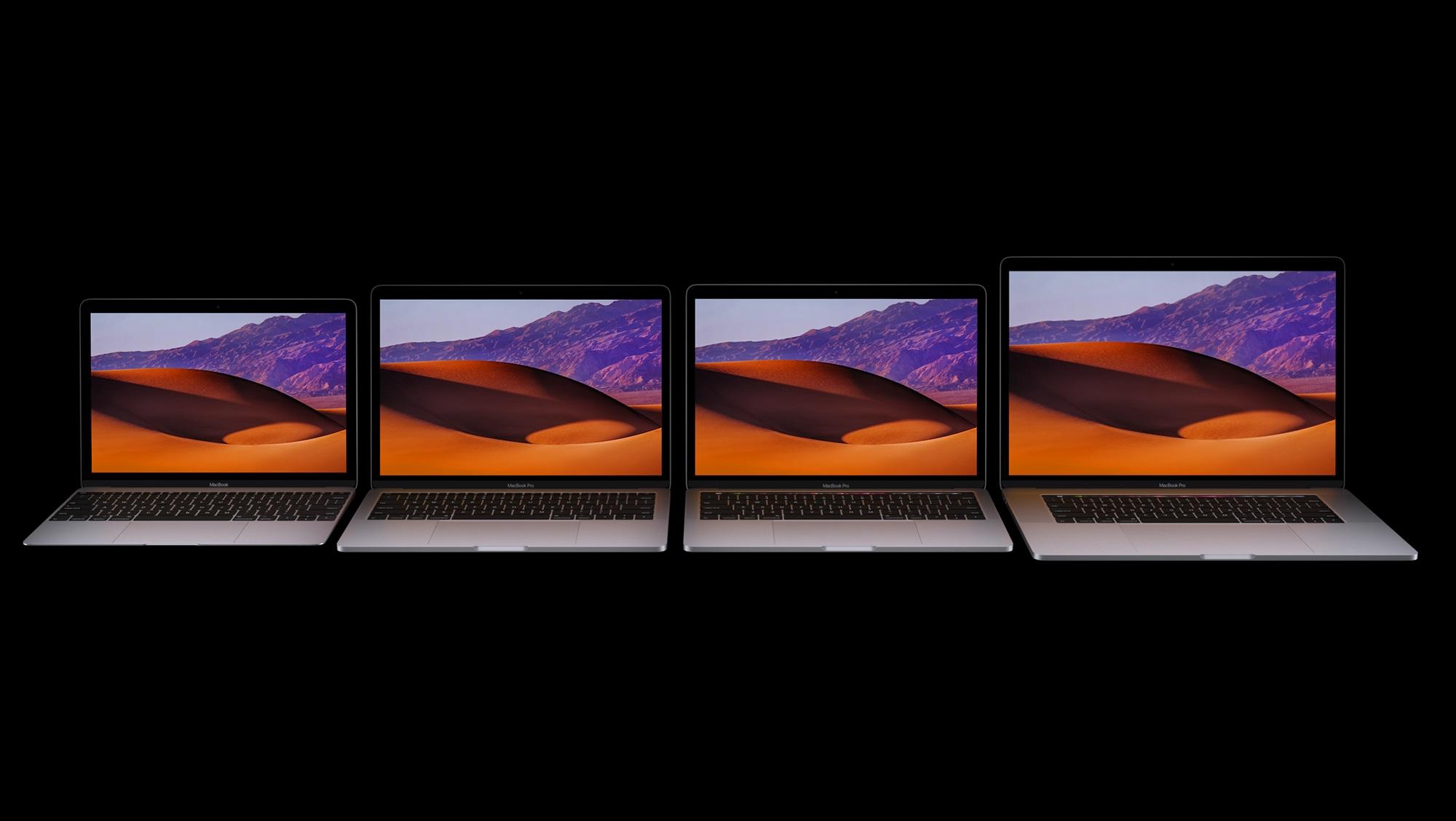 Família de MacBooks de frente