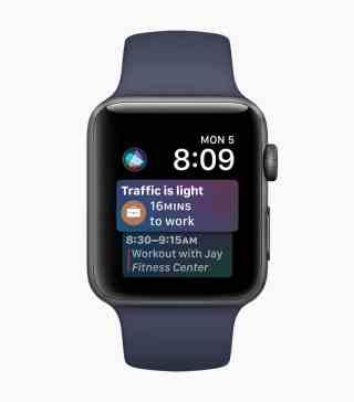 Mostrador da Siri no watchOS 4