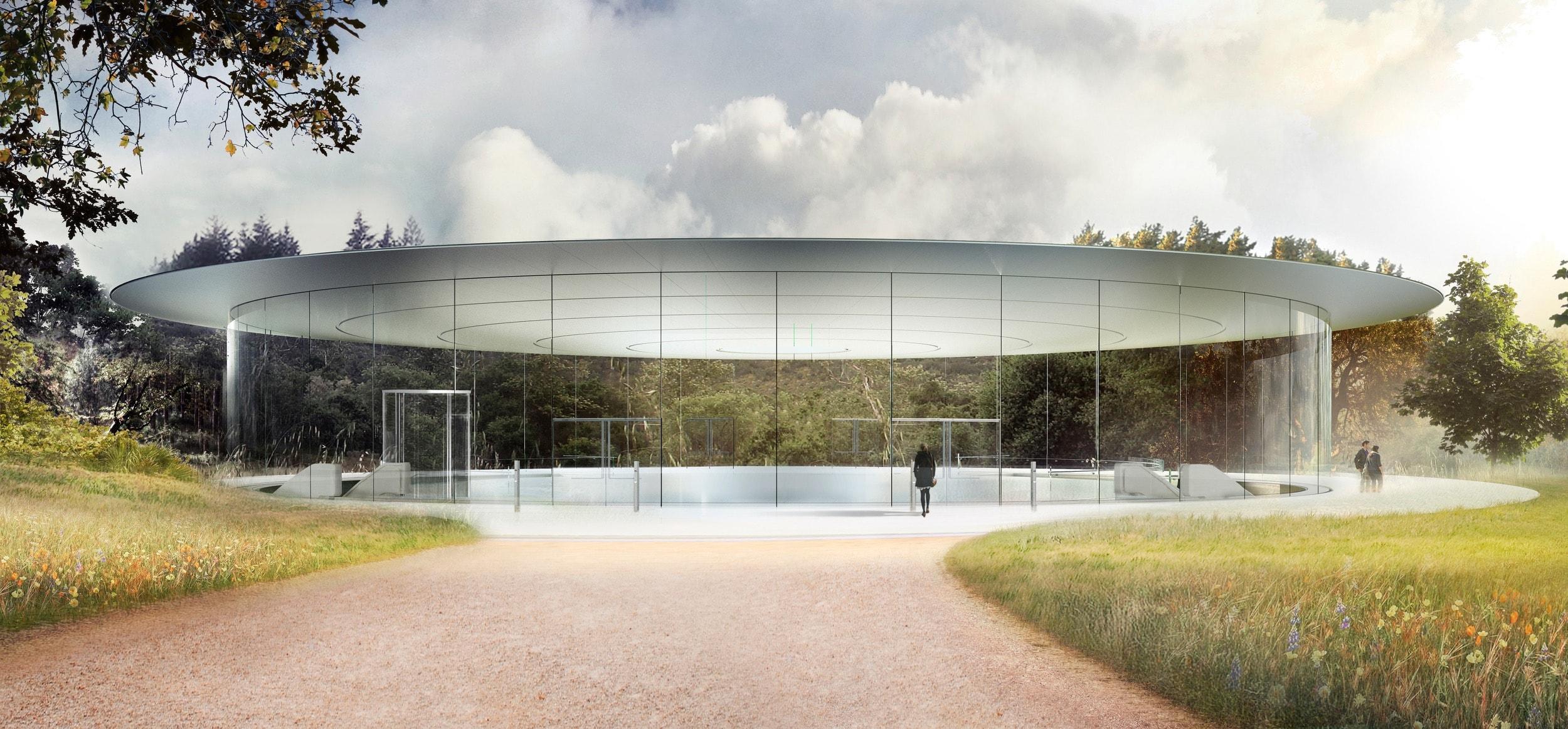Imagem de como ficará o Steve Jobs Theater depois do fim das obras do Apple Park