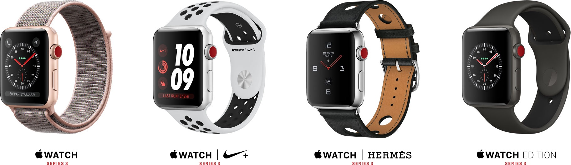 Modelos de Apple Watch Series 3 (GPS + Cellular)