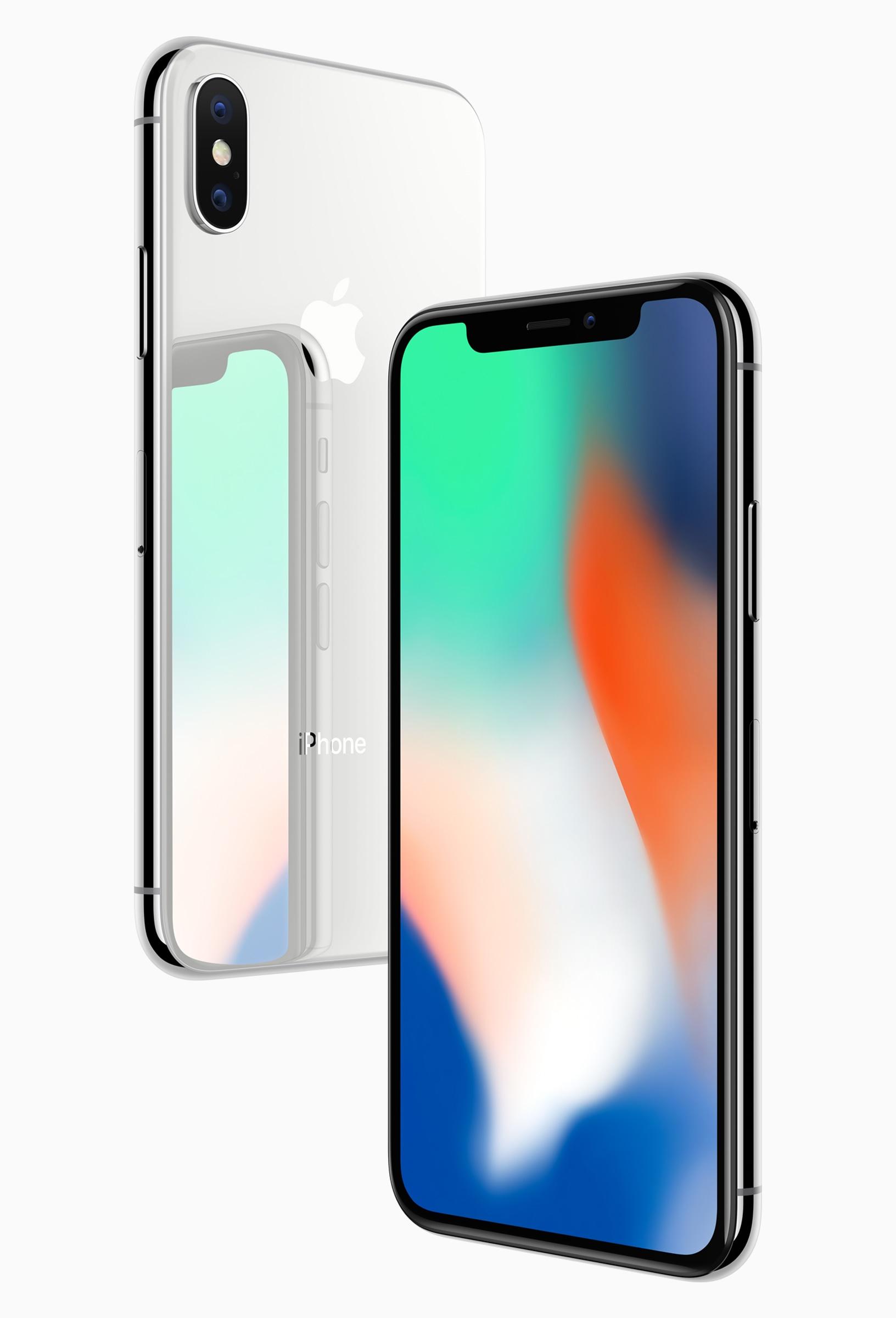 iPhone X prateado de trás e cinza espacial de frente na diagonal