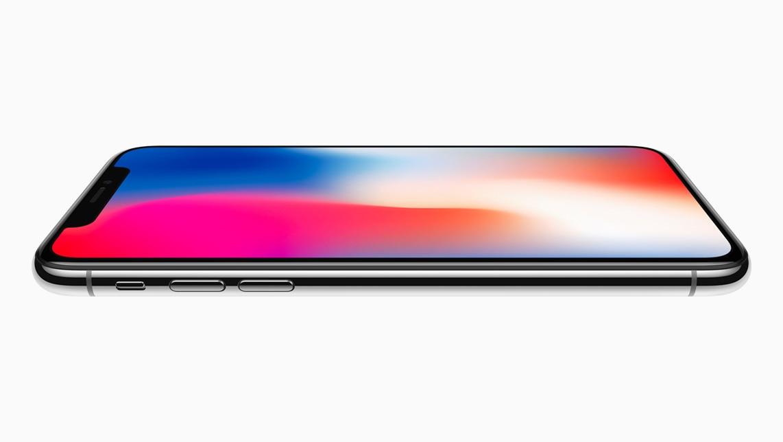 iPhone X deitado e de lado