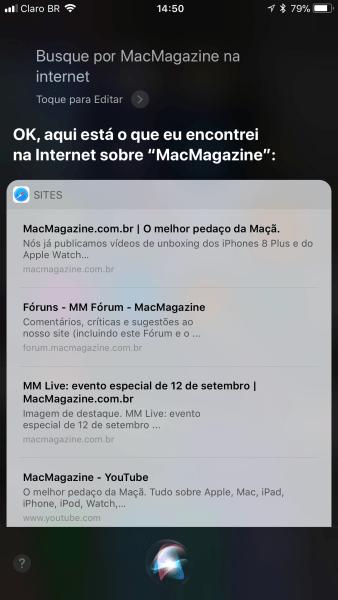 Siri mostrando resultados do Google