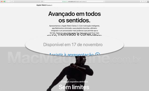 Data do Apple Watch Series 3 no Brasil