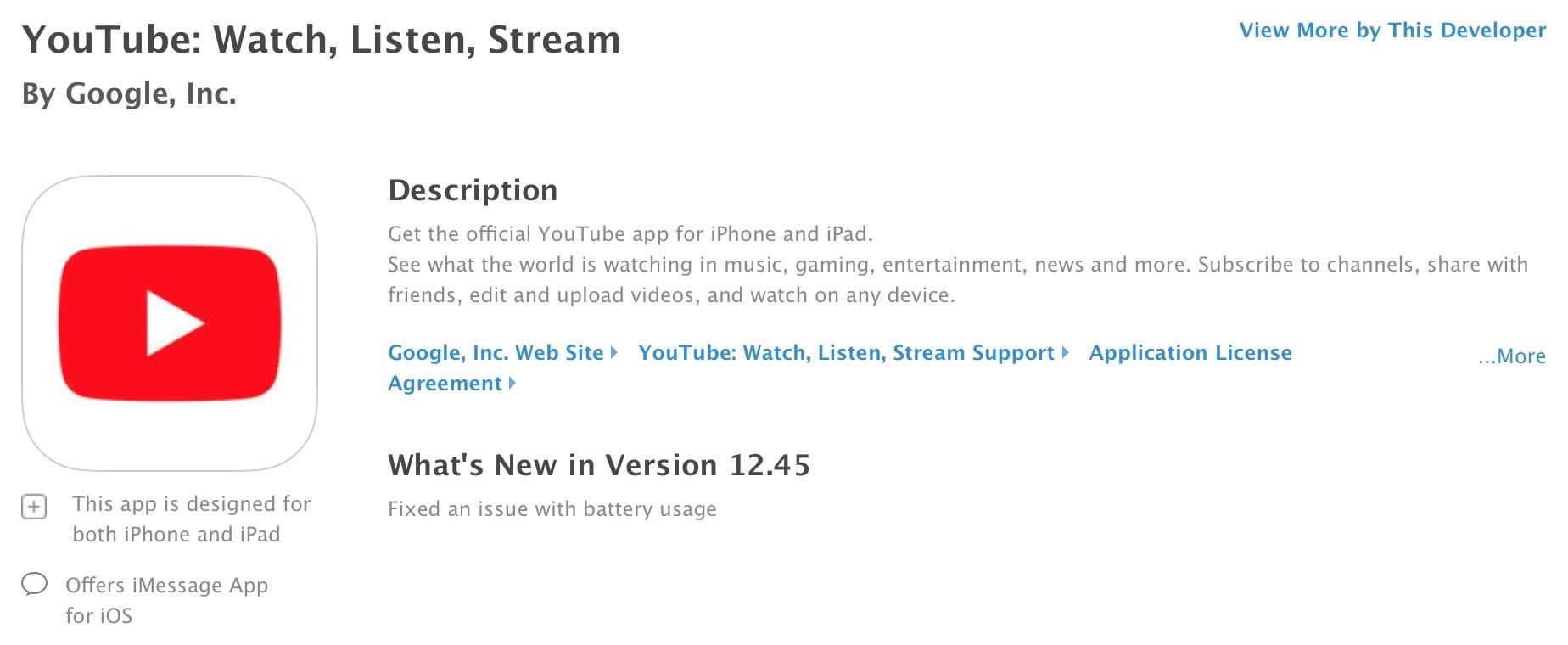 Notas de liberação do app YouTube para iOS e tvOS