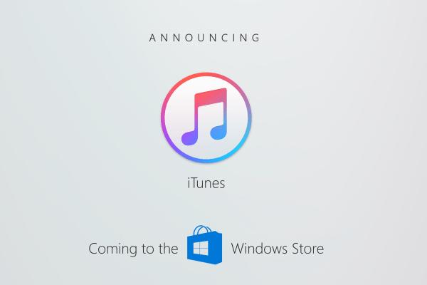 Anúncio do iTunes na Windows Store