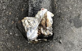 Bateria do iPhone 6s Plus que pegou fogo dentro da Apple Bahnhofstrasse