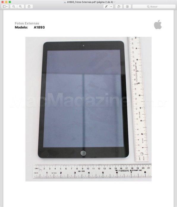 Imagem do iPad de sexta geração (Wi-Fi) enviado para a Anatel