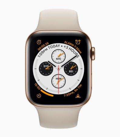 Apple Watch Series 4 de aço inoxidável dourado de frente