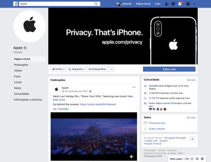 Página da Apple no Facebook