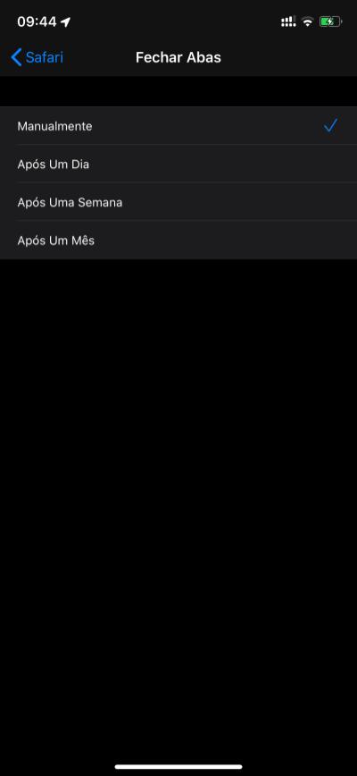 Ajustes do Safari no iOS 13