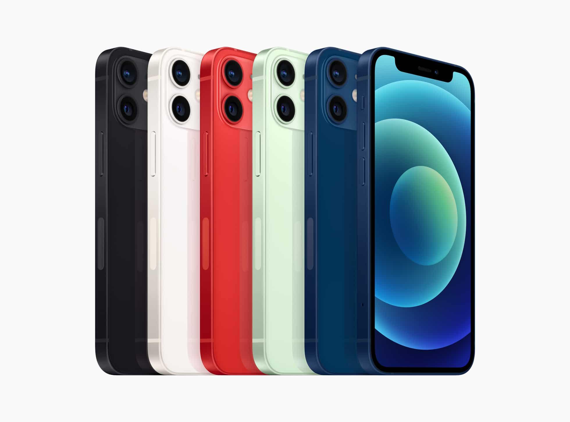 Família de iPhones 12 mini em todas as cores