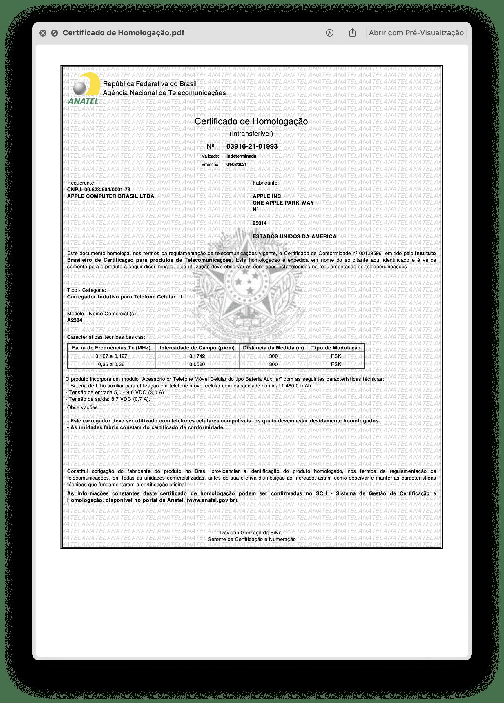 Certificado de Homologação da Bateria MagSafe