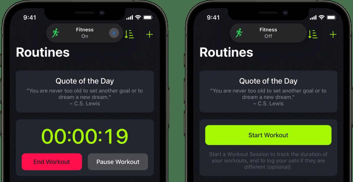 Modo Foco do SmartGym para iPhone