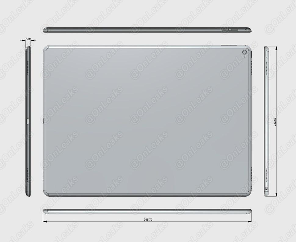 """Surge mais um render industrial do suposto """"iPad Pro"""", mostrando uma tela de 12,9 polegadas"""