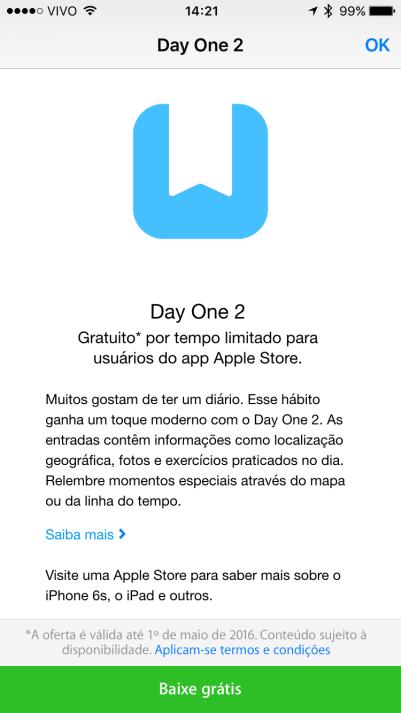 Day One 2 de graça pelo Apple Store